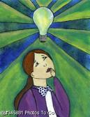 Woman w/ light bulb over head