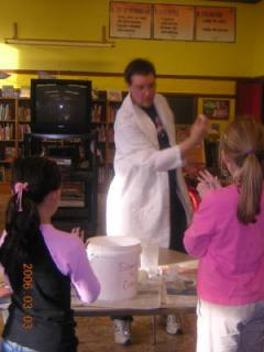 Science Guy demonstrating bouncing polymer balls