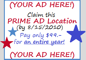 Claim this PRIME AD Location by 8/15 - Pay only $99 for the ENTIRE YEAR!