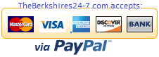 TheBerkshires24-7.com Accepts These Major Credit Cards or your Debit Card thru PayPal's SECURE Server.