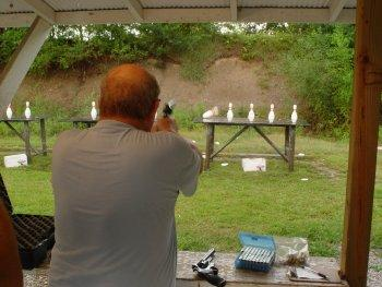 Joe shooting a revolver in Stock Major