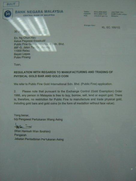 Rujukan dari Bank Negara Malaysia